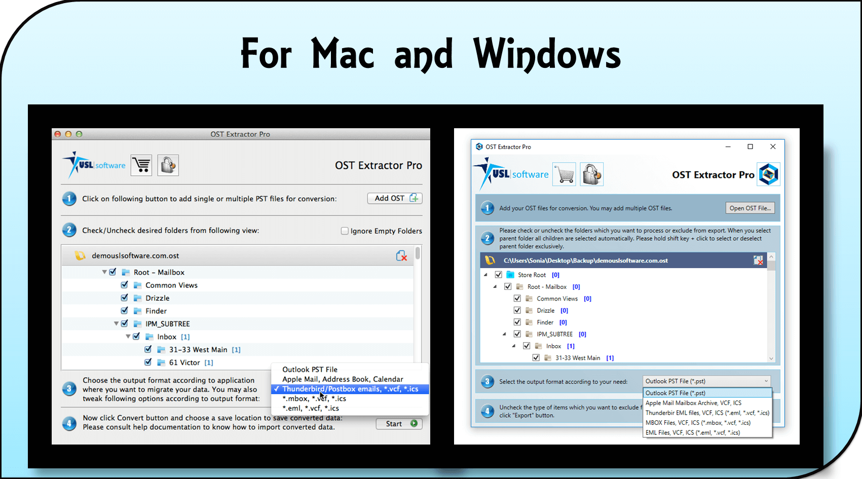 OST file converter for Mac and Windows OS